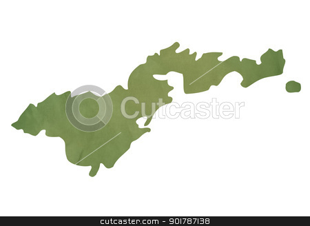American Samoa map on green paper stock photo, American Samoa map in old green paper isolated on white background. by Martin Crowdy