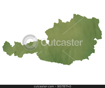 Ausrtria map on green paper stock photo, Austria map in old green paper isolated on white background. by Martin Crowdy