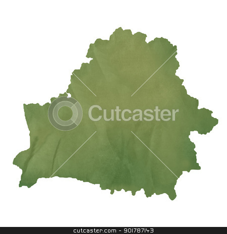 Belarus map on green paper stock photo, Belarus map in old green paper isolated on white background. by Martin Crowdy
