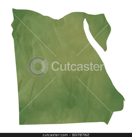 Old green paper map of Egypt stock photo, Old green paper map of Egypt isolated on white background by Martin Crowdy