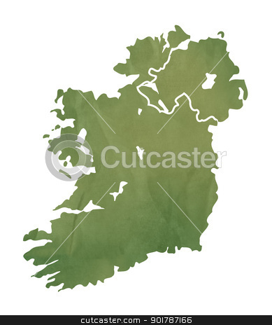 Ireland map on green paper stock photo, Ireland map in old green paper isolated on white background. by Martin Crowdy
