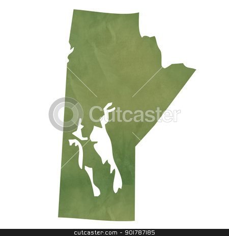 Manitoba map on green paper stock photo, Manitoba province of Canada map in old green paper isolated on white background. by Martin Crowdy