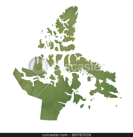Nanavut map on green paper stock photo, Nanavut province of Canada map in old green paper isolated on white background. by Martin Crowdy