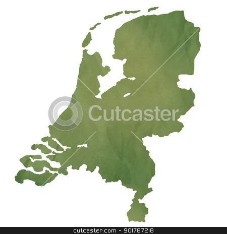 Netherlands map on green paper stock photo, Netherlands map in old green paper isolated on white background. by Martin Crowdy