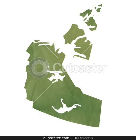 Northwest Territories map on green paper stock photo, Northwest Territories province of Canada map in old green paper isolated on white background. by Martin Crowdy