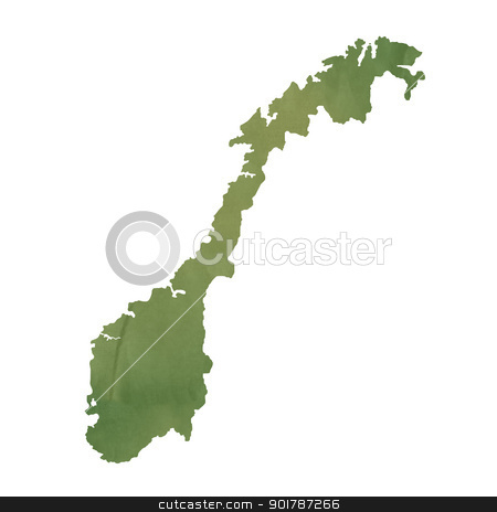Norway map on green paper stock photo, Norway map in old green paper isolated on white background. by Martin Crowdy
