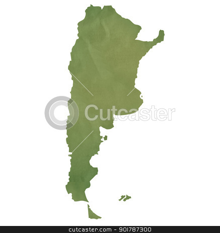 Old green paper map of Argentina stock photo, Old green paper map of Argentina isolated on white background by Martin Crowdy