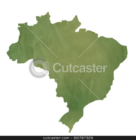 Old green paper map of Brazil stock photo, Old green paper map of Brazil isolated on white background by Martin Crowdy