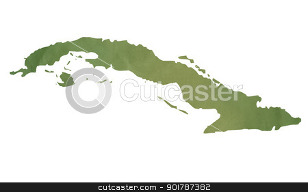 Old green paper map of Cuba stock photo, Old green paper map of Cuba isolated on white background by Martin Crowdy