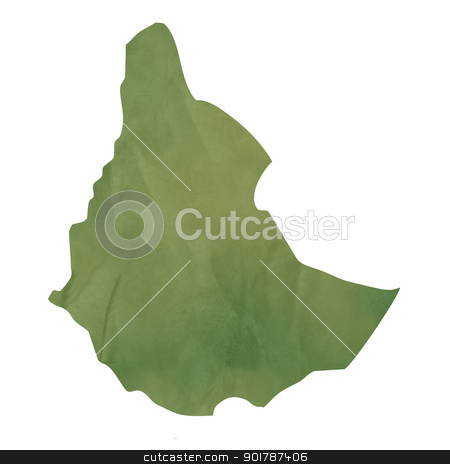 Old green paper map of Ethiopia stock photo, Old green paper map of Ethiopia isolated on white background by Martin Crowdy