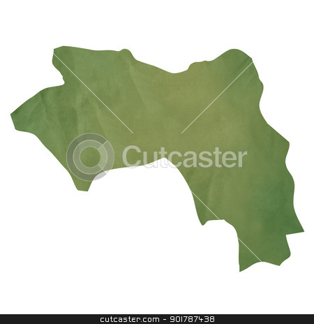 Old green paper map of Guinea stock photo, Old green paper map of Guinea isolated on white background by Martin Crowdy