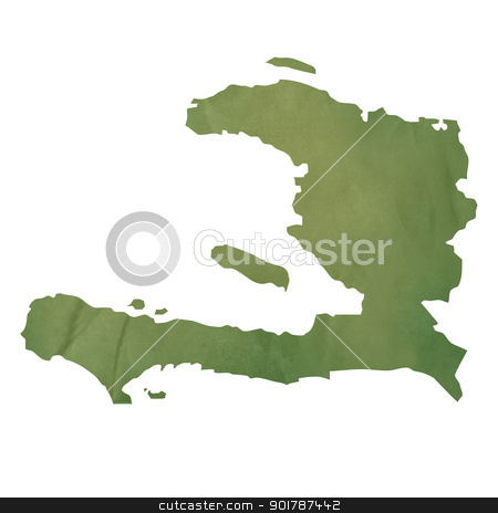 Old green paper map of Haiti stock photo, Old green paper map of Haiti isolated on white background by Martin Crowdy