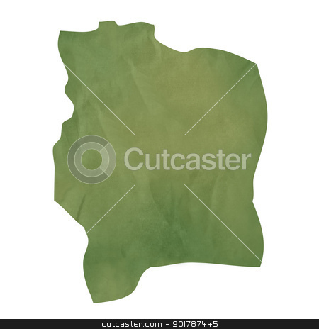Old green paper map of Ivory Coast stock photo, Old green paper map of Ivory Coast isolated on white background by Martin Crowdy