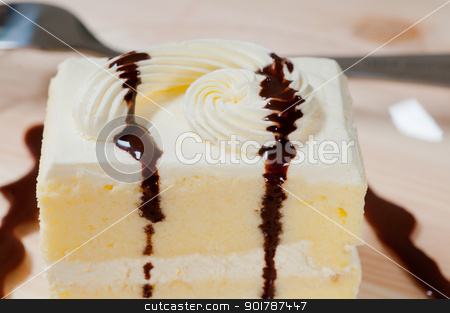 fresh cream cake closeup with chocolate sauce stock photo, fresh cream cake closeup with chocolate sauce topping  by Francesco Perre