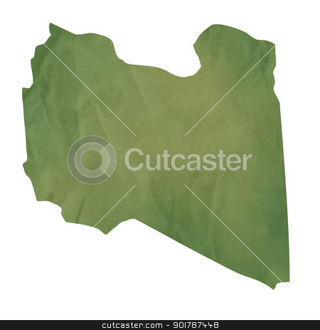 Old green paper map of Libya stock photo, Old green paper map of Libya isolated on white background by Martin Crowdy