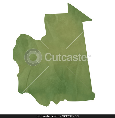 Old green paper map of Mauritania stock photo, Old green paper map of Mauritania isolated on white background by Martin Crowdy