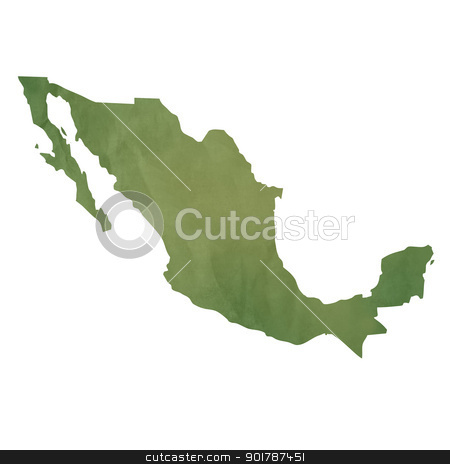 Old green paper map of Mexico stock photo, Old green paper map of Mexico isolated on white background by Martin Crowdy