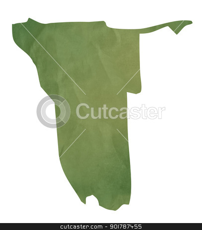 Old green paper map of Namibia stock photo, Old green paper map of Namibia isolated on white background by Martin Crowdy