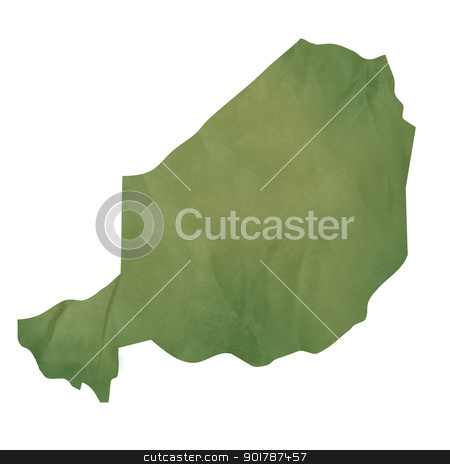 Old green paper map of Niger stock photo, Old green paper map of Niger isolated on white background by Martin Crowdy