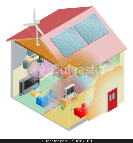 Green Energy House stock vector clipart, Energy efficient home house with cavity wall and loft insulation, wind turbine and solar panels on the roof. by Christos Georghiou