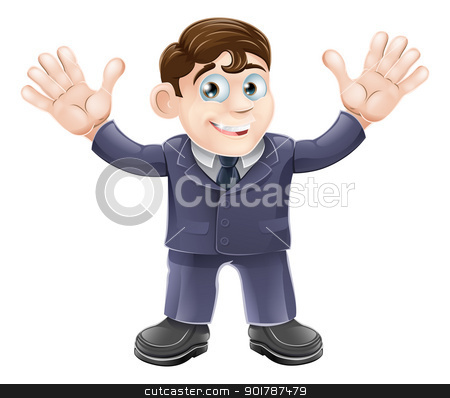 Cute businessman in suit waving stock vector clipart, Illustration of a cute businessman in a suit waving with both hands and smiling by Christos Georghiou