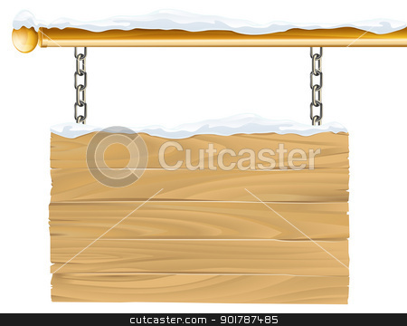 Winter Sign stock vector clipart, A wooden snowy winter Christmas sign hanging suspended from chains and metal pole by Christos Georghiou