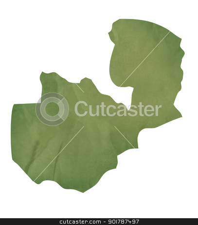 Old green paper map of Zambia stock photo, Old green paper map of Zambia isolated on white background by Martin Crowdy