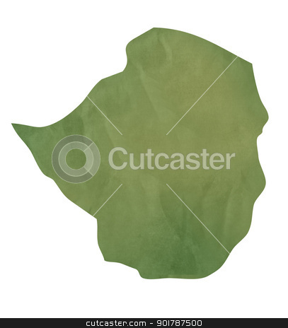 Old green paper map of Zimbabwe stock photo, Old green paper map of Zimbabwe isolated on white background by Martin Crowdy