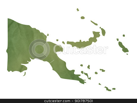 Papa New Guinea map on green paper stock photo, Papa New Guinea map in old green paper isolated on white background. by Martin Crowdy