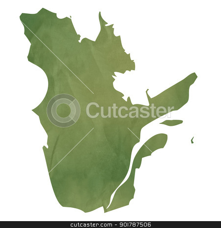Quebec map on green paper stock photo, Quebec province of Canada map in old green paper isolated on white background. by Martin Crowdy