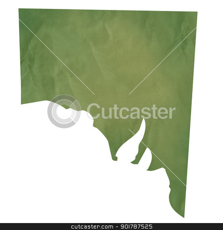Southern Australia map on green paper stock photo, Southern Australia  map in old green paper isolated on white background. by Martin Crowdy