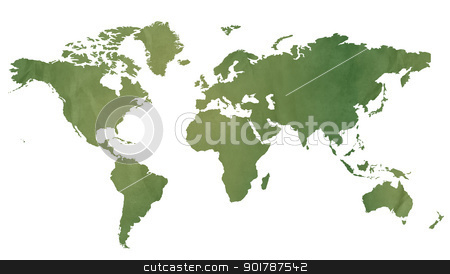 World map on green paper stock photo, World map in old green paper isolated on white background. by Martin Crowdy