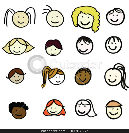 faces of cartoon kids stock vector clipart, cartoon kids of boy and girls for children, fun, school and others by glossygirl21