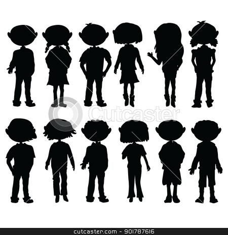 silhouettes cartoon kids stock vector clipart, silhouettes cartoon kids boys and girls for education, fun and learning by glossygirl21