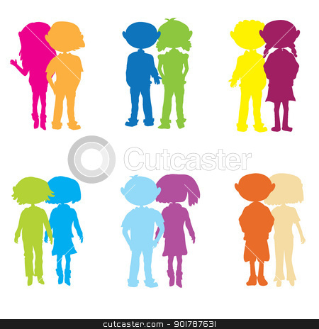 silhouettes cartoon kids couple stock vector clipart, silhouettes cartoon kids couple - colourful couple by glossygirl21