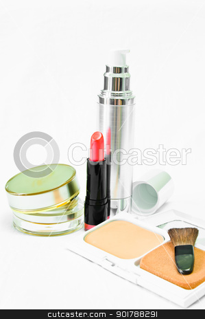cosmetic of  beautiful color for women stock photo, cosmetic of  beautiful color on white background by Cherdchoosak Ngernsiam
