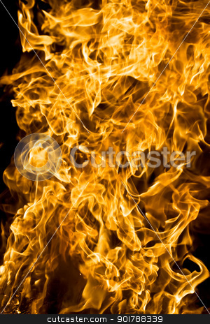 Fire stock photo, Beautiful flames on black background by Alexey Popov