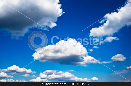 Blue Sky stock photo, White clouds in the sky by Alexey Popov