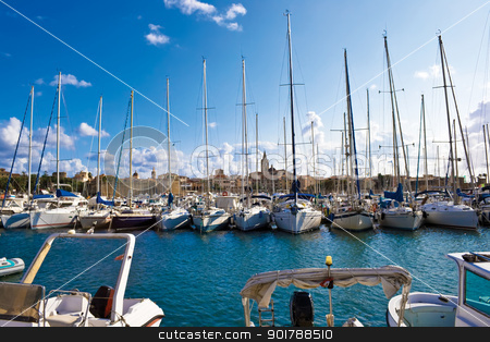 White yachts stock photo, Classic white yachts ancored in Alghero, Sardinia by Alexey Popov