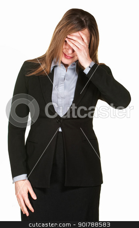 Woman Covers Face stock photo, Professional woman isolated on white with hand on face  by Scott Griessel