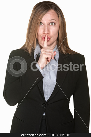 Woman Gestures Silence stock photo, Isolated business woman with finger to lips over white background by Scott Griessel