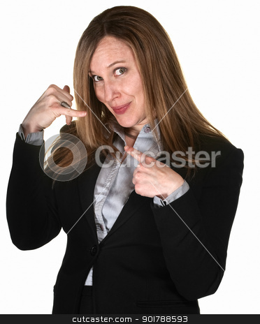 Professional Woman with Phone Gesture stock photo, Pretty businesswoman over white background with hands in telephone gesture by Scott Griessel