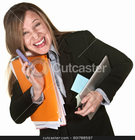 Smiling Multitasking Woman stock photo, Working lady with phone and folders multitasking by Scott Griessel