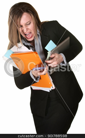 Woman Fumbling with Papers stock photo, Professional woman fumbling with papers, computer and phone by Scott Griessel