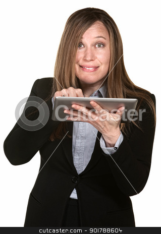 Busy Woman Works On a Tablet stock photo, Busy woman works on tablet over white background by Scott Griessel