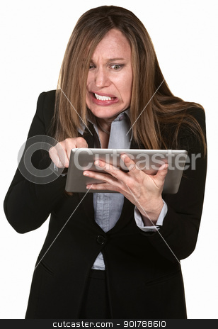Anxious Woman with Tablet stock photo, Frustrated businesswoman with tablet over white background by Scott Griessel