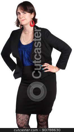 Skeptical Worker stock photo, Skeptical female business person with hands on hips by Scott Griessel