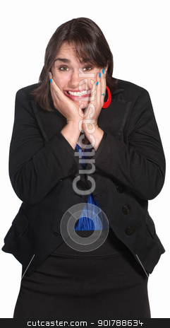 Woman With Hands on Face stock photo, Blushng professional woman with hands on face by Scott Griessel