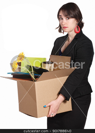 Sad Worker Carries Belongings stock photo, Sad white collar worker with box of stuff over white background by Scott Griessel