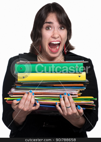 Overworked Office Worker stock photo, Overwhelmed young white collar professional with folders by Scott Griessel